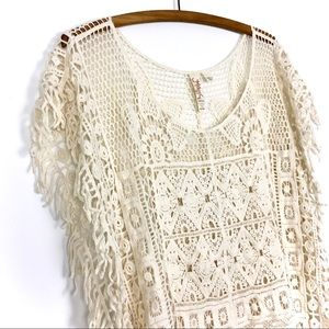 Miken Crochet Swim Cover Up Poncho